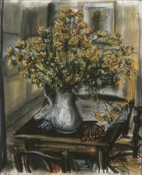 Orange Flowers with gloves (pastels) ©irenejuliawise
