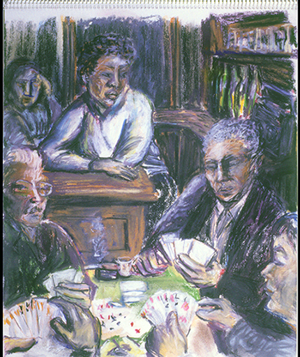 Nadia at the Bar with Card Players, Paris (pastels) ©irenejuliawise