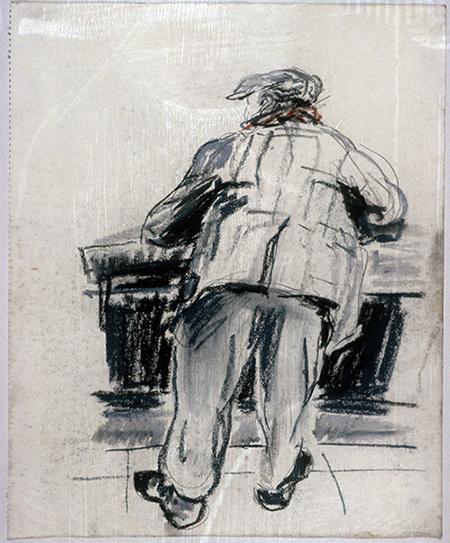 French Workman at Bar, Paris (pastels) ©irenejuliawise