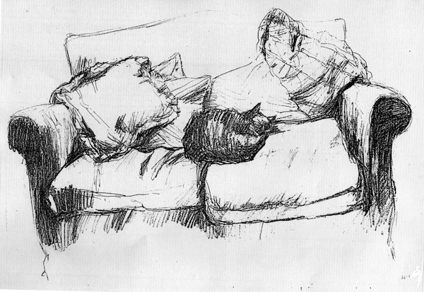 Cat Asleep on the Sofa (pencil drawing) ©irenejuliawise