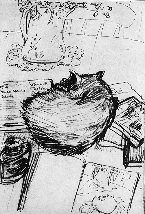 Cat Curled Up with Books (drawing) ©irenejuliawise