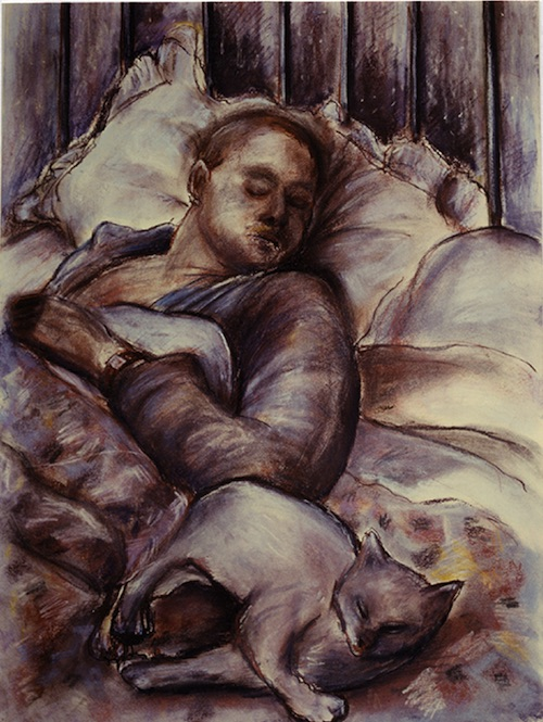 Sleeping Man with White Cat (pastels) ©irenejuliawise