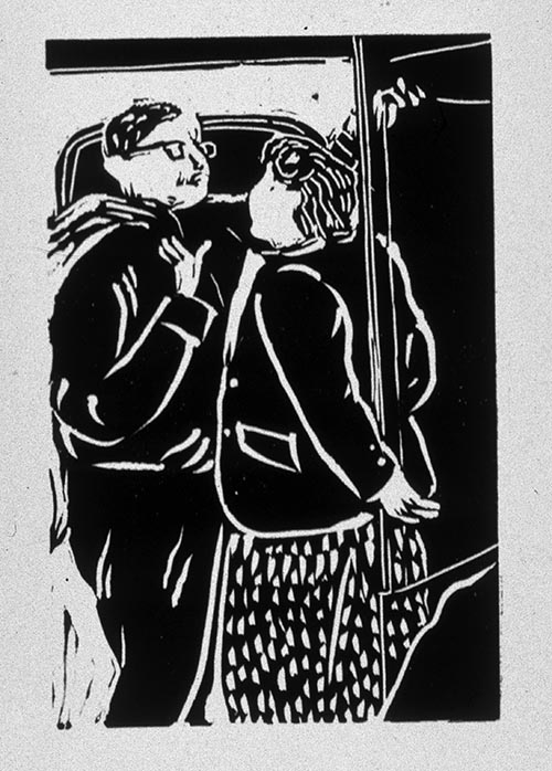 Lovers on the Underground (linocut) ©irenejuliawise