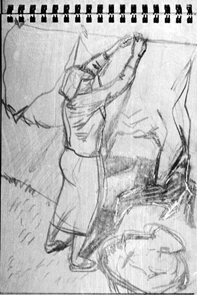 Hanging Washing (pencil drawing) ©irenejuliawise