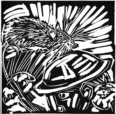 WW1 Poetry: Break of Day in the Trenches, Isaac Rosenberg (linocut) ©irenejuliawise