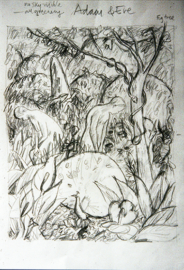 Adam and Eve, Garden of Eden (pencil sketch) ©irenejuliawise