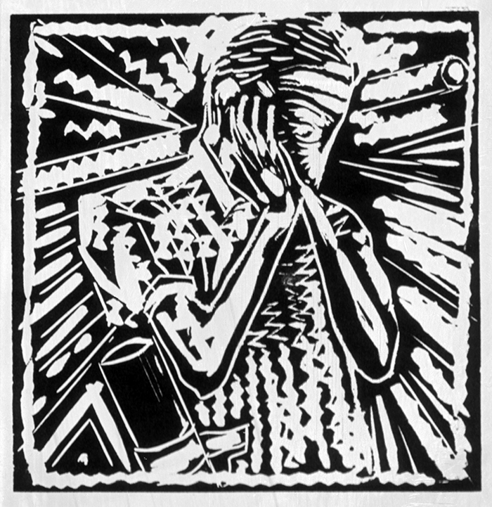 WW1 Poetry: Repression of War Experience, Siegfried Sassoon (linocut) ©irenejuliawise