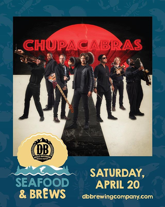 @chupacabrasmusic are performing this SAT 4/20 @devilsbackbonebrewingcompany alongside @dangermuffinmusic & @tonycamm for #SeafoodandBrewsFest 🦞🎷🍻🦀✨ Link to Event Tickets 🎟 & More Info in the bio👇 @devilsbackbonebrewingcompany
