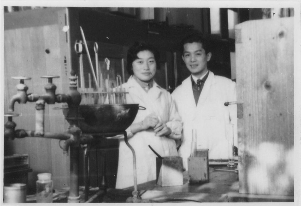 Tsuneko and Reiji Okazaki in their lab at Nagoya University, Japan, shortly after their marriage in the 1950s.  Used with the kind permission of Nagoya University.