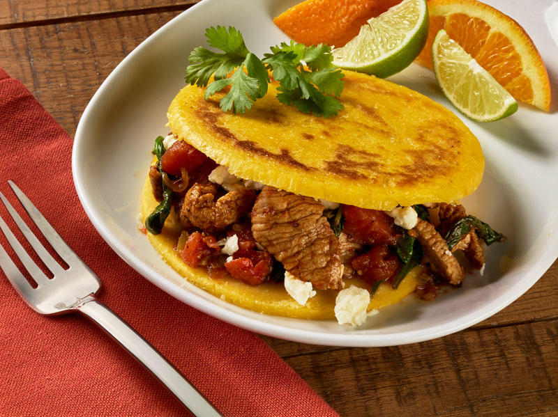 Veal Spinach and Tomato Arepas