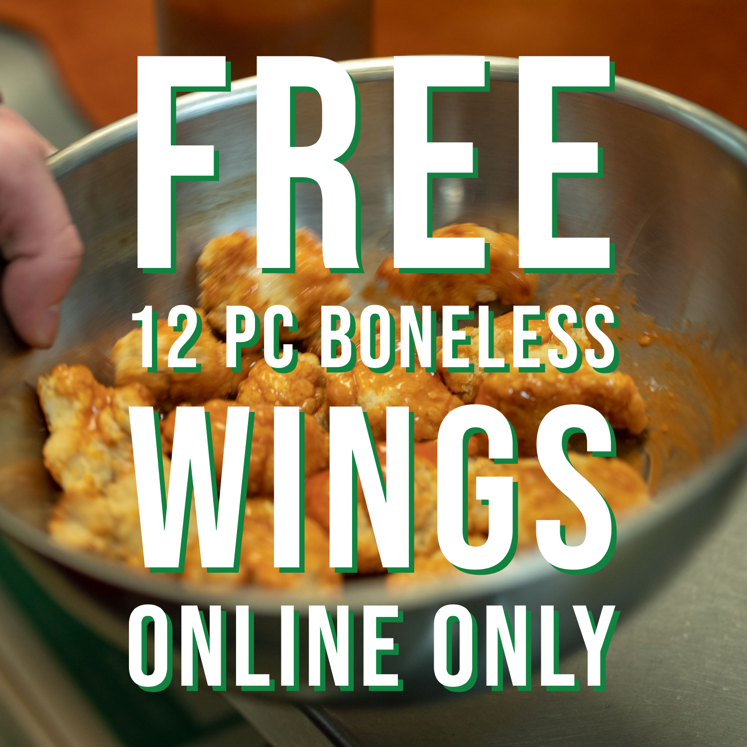 "FREE 12 PCBONELESS WINGS - Purchase Any Extra Large Gourmet. Online Only.Only One 1 coupon, discount, special, or promotion per customer.Tax Not IncludedCODE ""FREEWING"""