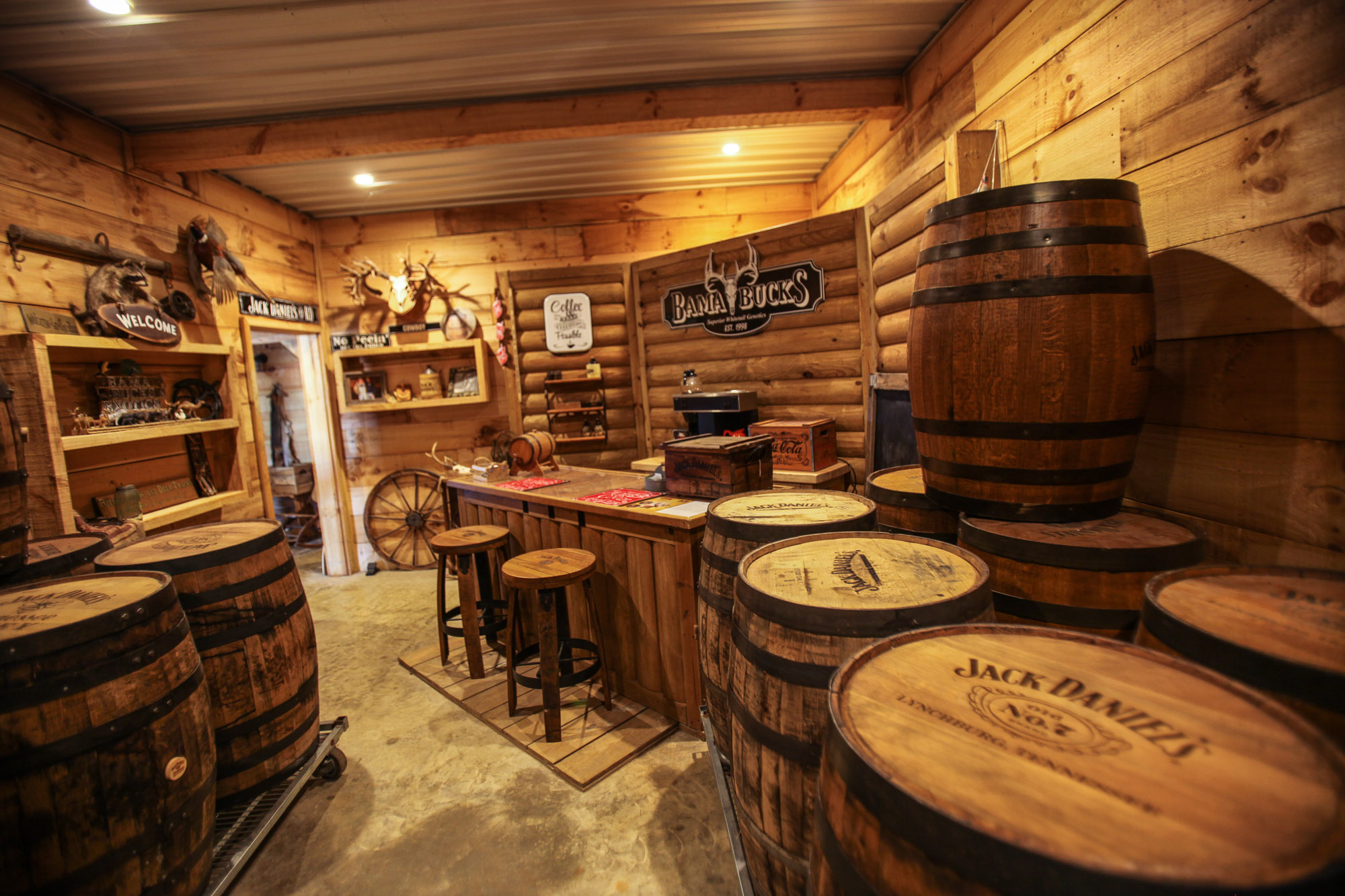 Just a few steps from the antique barn we have a large collections of Jack Daniel Barrels available for purchase.