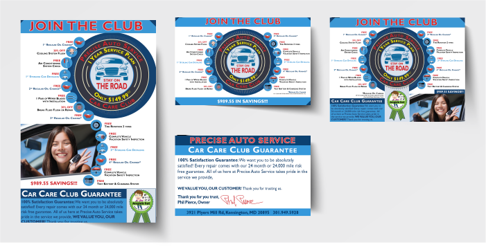 Piers created a marketing campaign with in-house posters, mailers and membership rewards cards for the owner of Precise Auto Service in Kensington, MD.