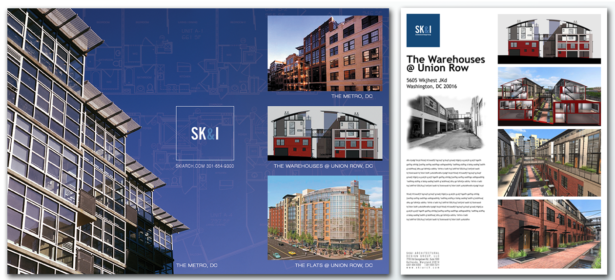 Working under the Marketing Director at SK&I in Bethesda, Piers would take their renderings and turn them into award winning entries for AIA awards in DC. As well as create the marketing collaterals for the firm.
