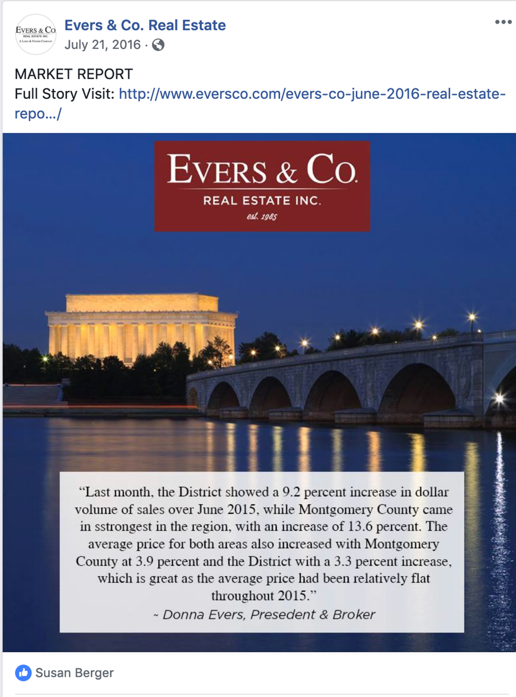 Evers Market Report monthly ad