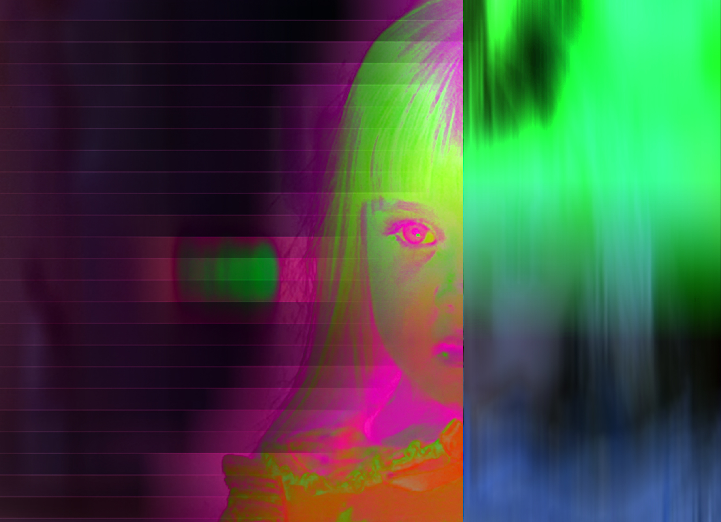 """Review: """"The more I go over it, the more I see in it"""": Zuckerman Museum of Art's """"Medium"""" - """"Thompson's signature glitchy technicolor images depict the character Carol Anne Freeling from the 1982 film 'Poltergeist,' as well as a scene from television coverage of 18-month-old Jessica McClure being trapped in a well in her aunt's backyard in October 1987. The Poltergeist image is a funny but apt inclusion in Medium, a brightly sour piece of candy amidst a sometimes-heavy meal, and a reminder of ghost stories' campy genre descendants.""""–Logan Lockner (ARTSATL, Oct 12, 2017)"""