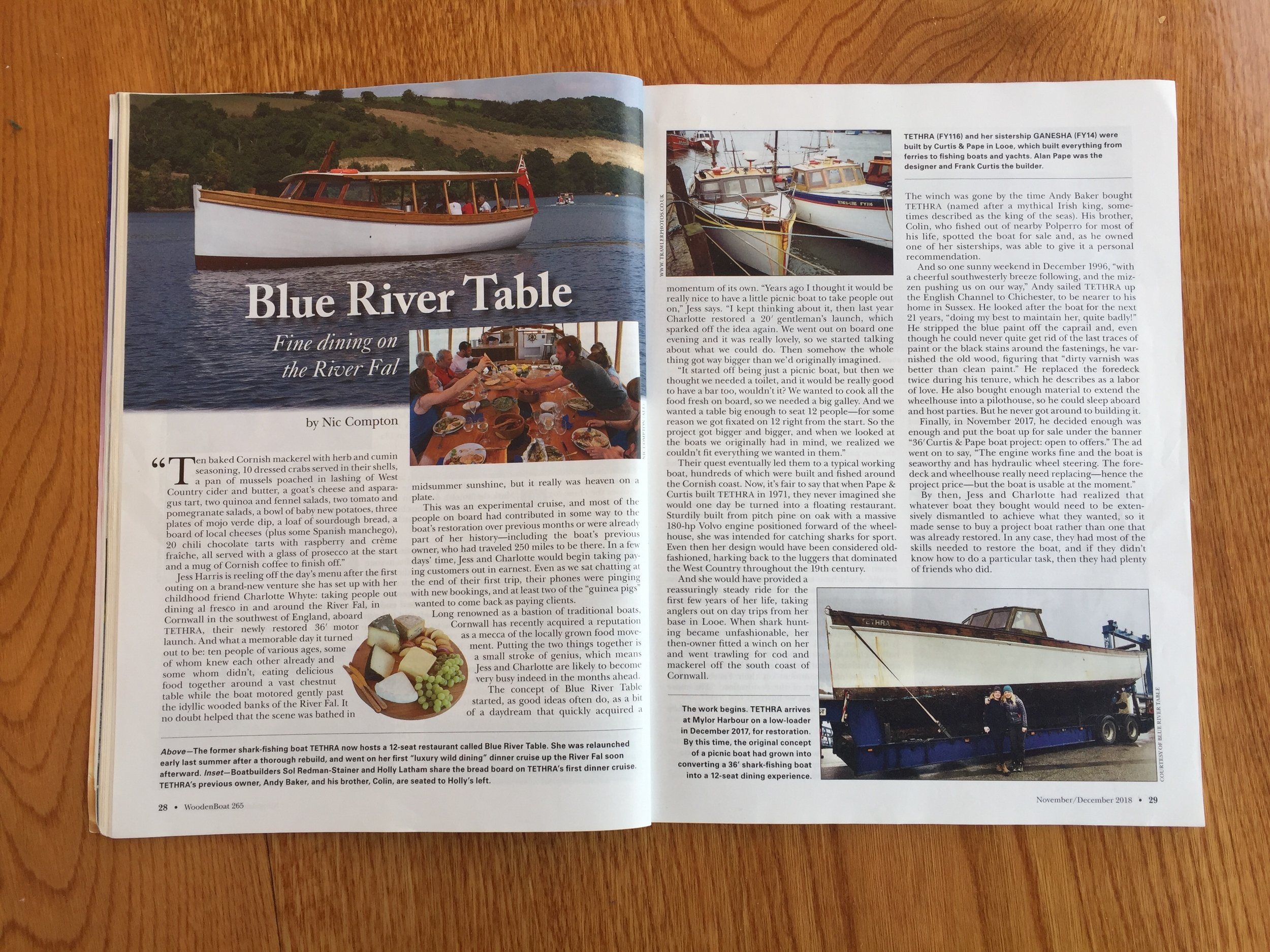 Wooden Boat Article - November/December 2018 issue in wooden boat magazine, the story of the rebuild and start of Blue River Table.