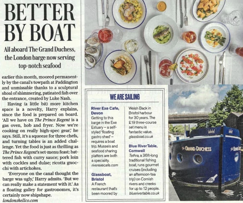 A mention in the Telegraph - Better by boat- a nice little mention in the Telegraph for Blue River Table.