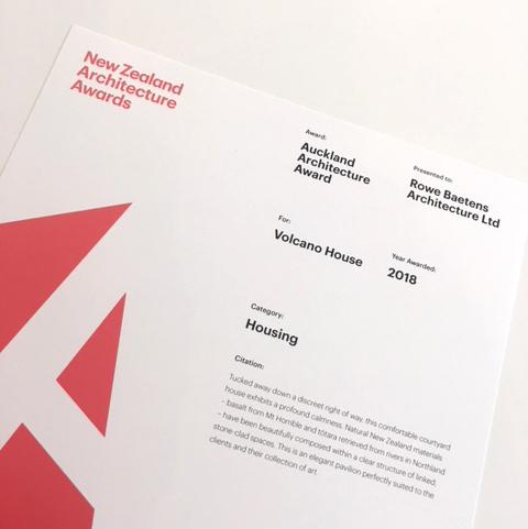 May 2018   2018 NZIA Auckland Housing Award for Volcano House