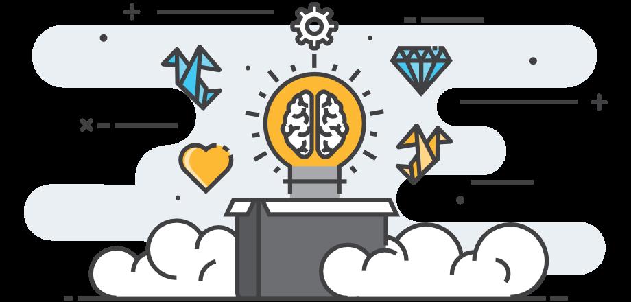 Idea lightbulb showing development processes
