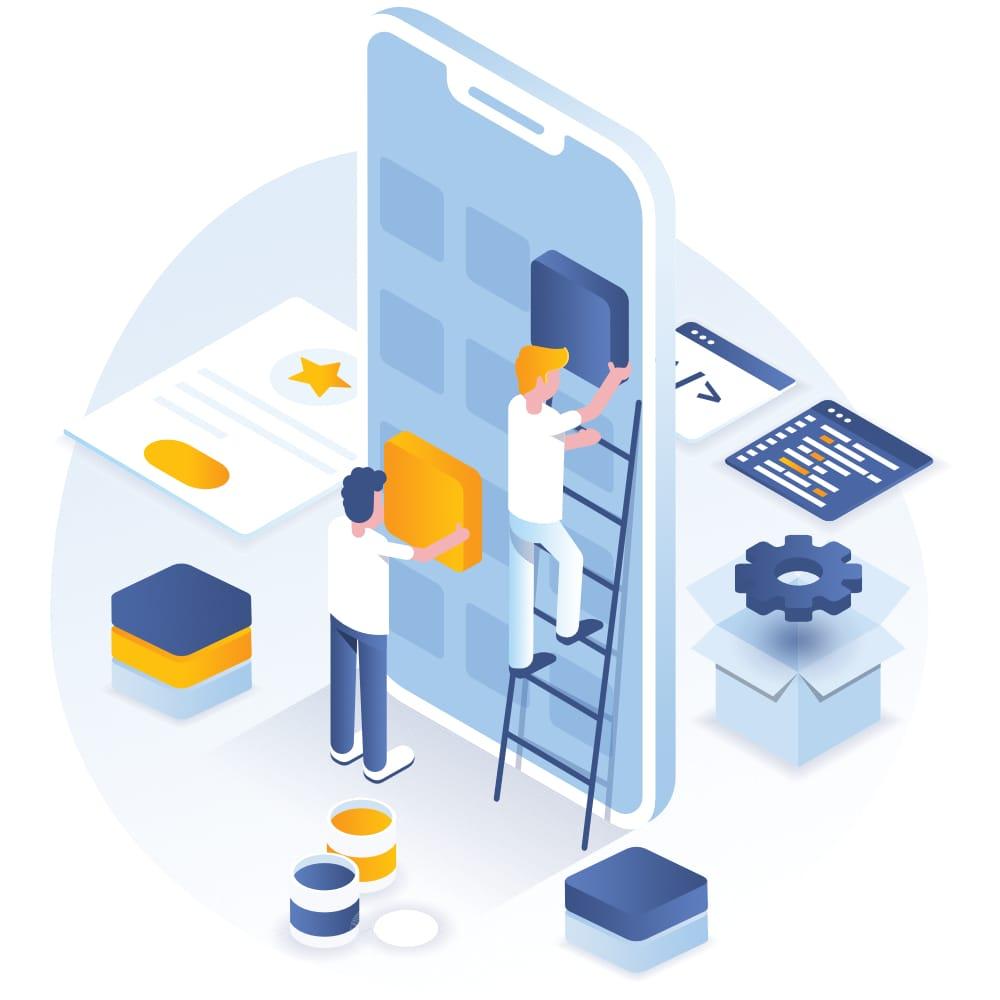 Expert developer programming a mobile app