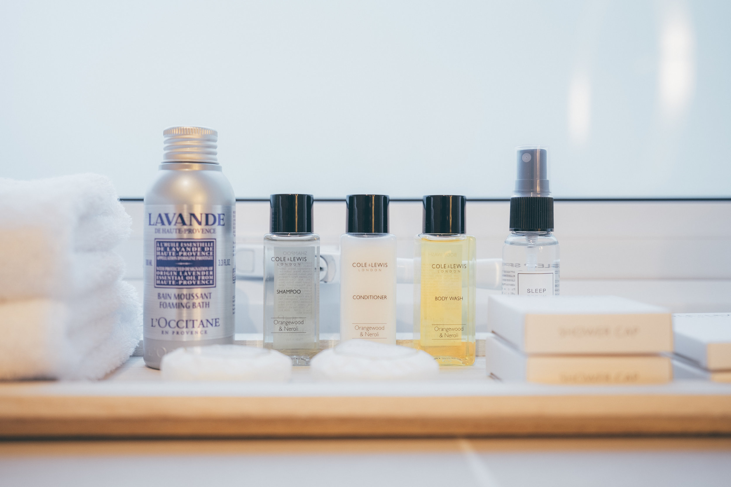 Complimentary Coles Lewis of London toiletries
