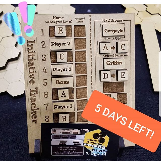 Only 5 days remain on our Initiative Tracker @kickstarter ! Help us make this tracker a reality and back today!  https://www.kickstarter.com/projects/tabletopfoundations/initiative-tracker-for-tabletop-gaming  We manufacture each tracker and tile set ourselves and every set of tiles can be personalized with your player characters and favorite monsters! . . . .  #kickstarter #initiativetracker #ttrpg #dungeonsanddragons #dungeons_and_dragons #dnd5edition #tabletoprpg #dungeonmaster #tiles #lasers #makersgonnamake