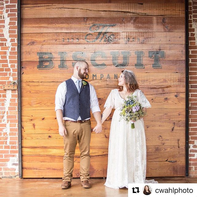 Tell us we aren't alone in loving a white dress against the brick and barn doors.  #Repost @cwahlphoto with @get_repost ・・・ Heather & Kyle got married in the beginning of October at the beautiful @thebiscuitga  I'm so honored that Heather chose me as her photographer since she is a photographer herself.  Details~ - 📸@cwahlphoto - venue @thebiscuitga - flowers @thomasvilleflowers - Cake was made by brides grandmother - Dress, which is stunning was found on amazon - Suit from @belk