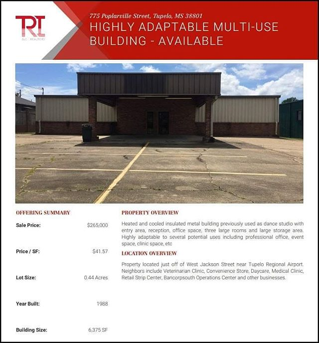 Have a look at this well-located flexible-use building, available in Tupelo. #tupeloms #commercialrealestate
