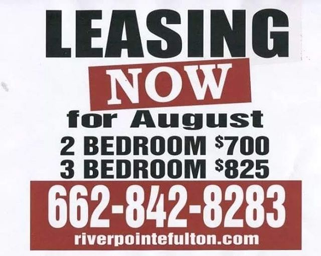 Leasing NOW for August!! Call 662-842-8283 or email emily@trirealestate.net for more information!