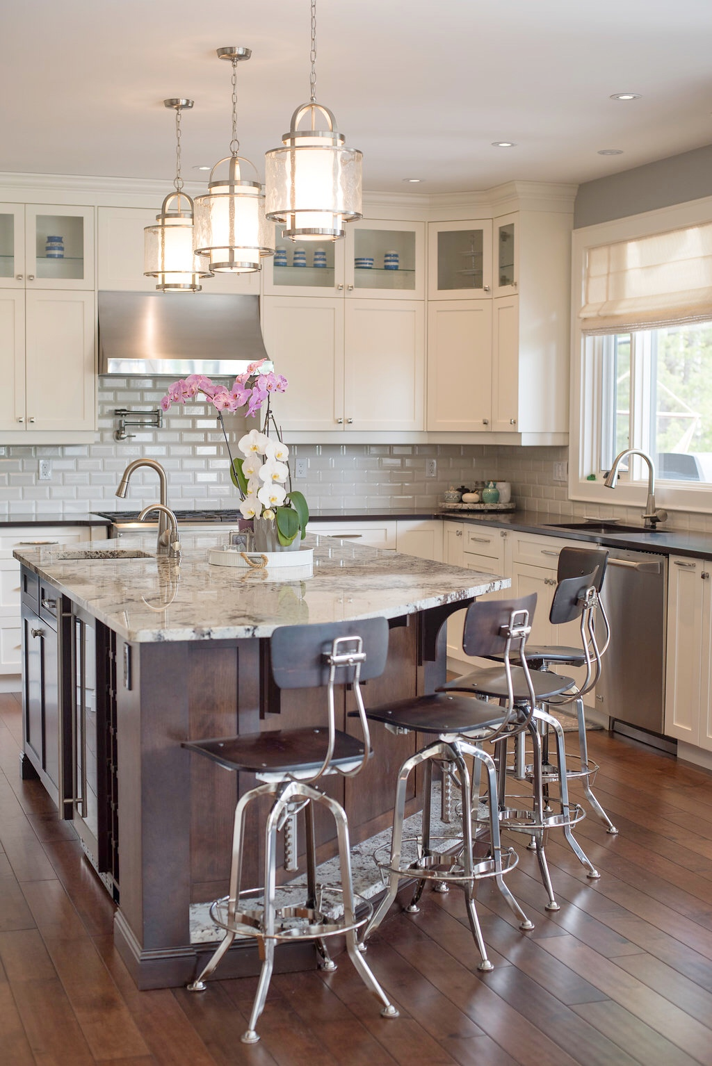 Lichen with White shaker cabinets| Pendant lighting| white subway tile backsplash| Restoration Hardware barstools| Interior Designs By Adrienne | Cranbrook BC