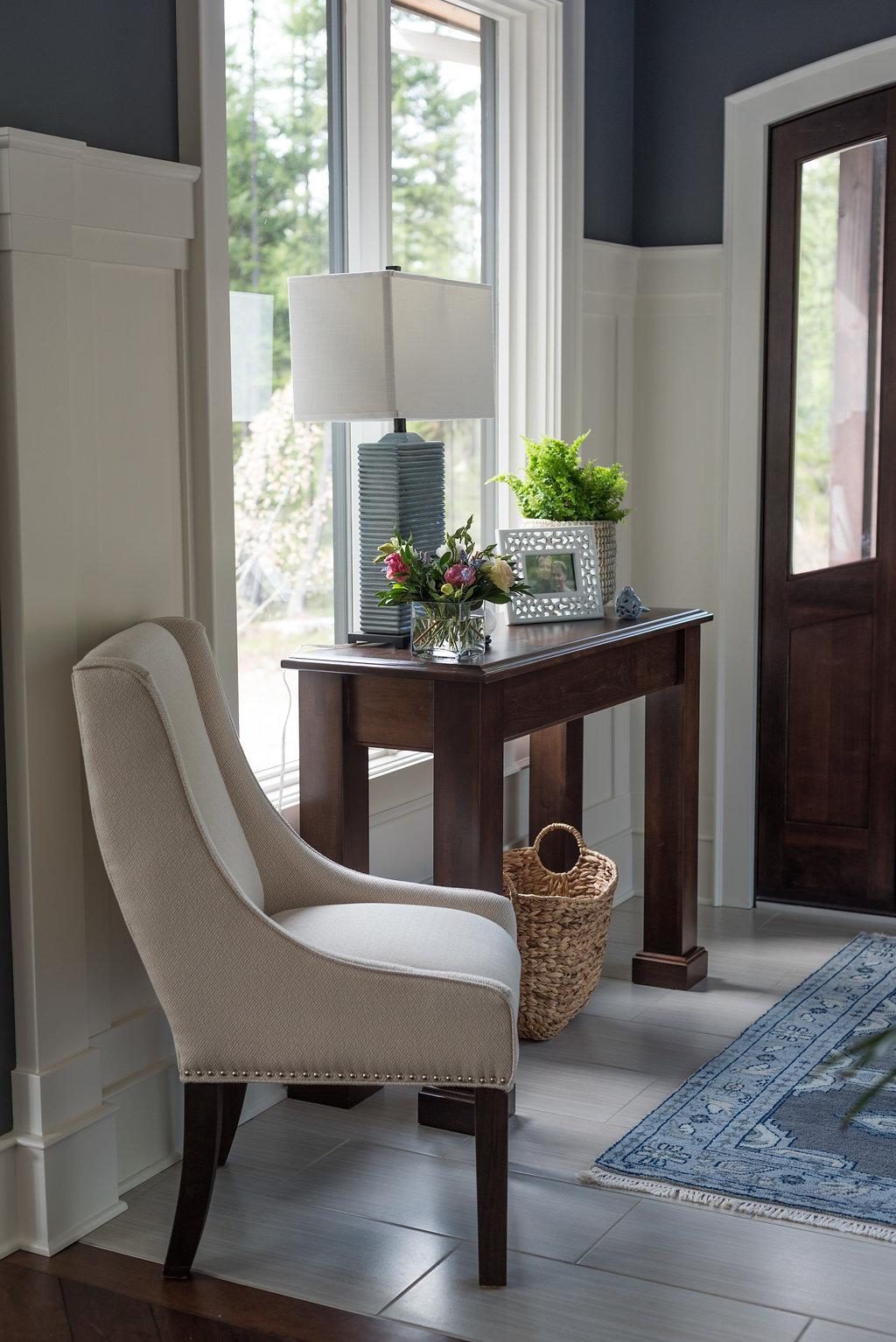 Foyer decor|  white wainscotting | Caitlin Wilson area rug| Interior Designs By Adrienne| Cranbrook BC