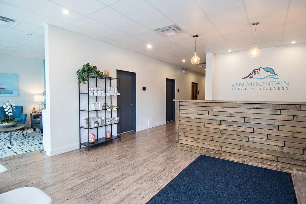 Zen Mountain Float + Wellness, reception area, commercial design, spa, Interior Designs By Adrienne , Cranbrook BC
