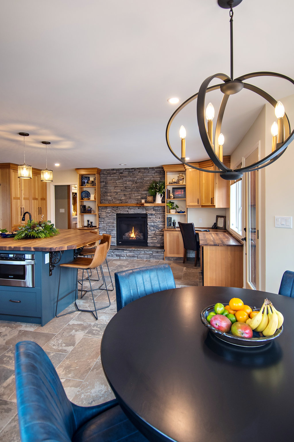 interior-designs-by-adrienne-cranbrook-bc-rustic-kitchen-wood-cabinets-stone-fireplace
