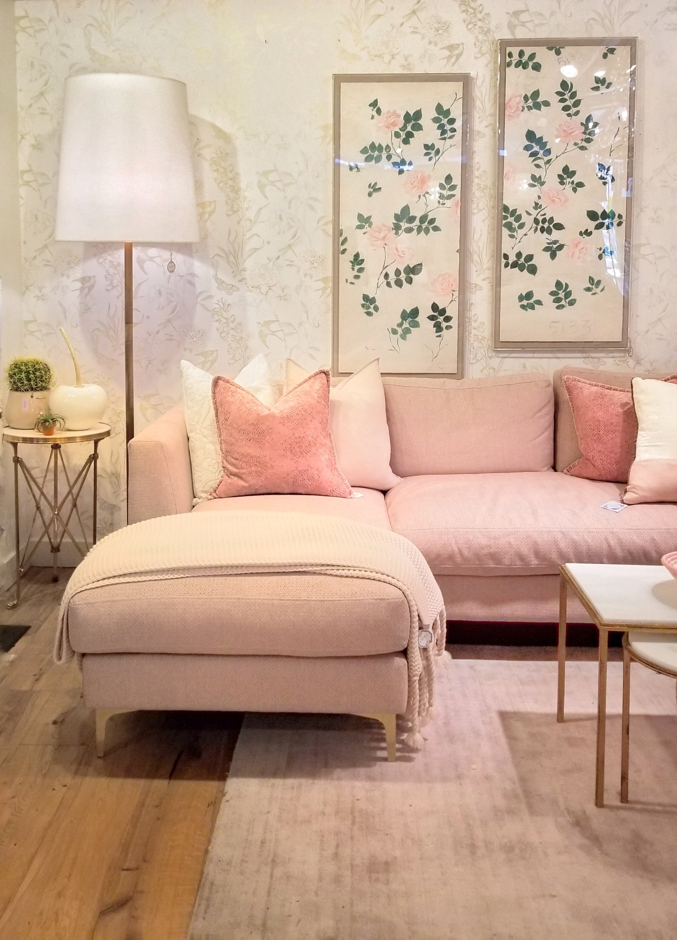 interior-designs-by-adrienne-cranbrook-bc-oversized-floor-lamp-pink-sofa-with-chaise-botanical-art-the-cross-decor-&-design