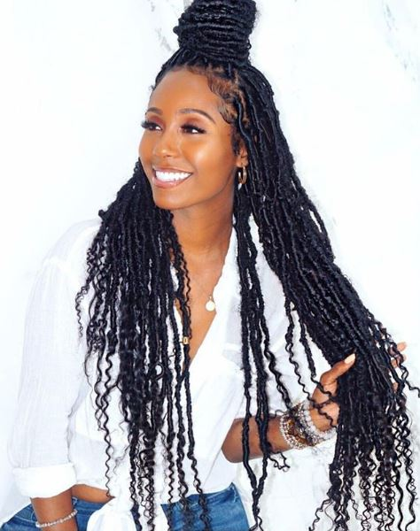 Faux Locs - Also known as goddess braids and seen frequently on Meagan Good and Eva Marcille. All the style and none of the commitment. You can take these down whenever you're ready and can last up to two months.Instagram @ma_coiffeuse_afro