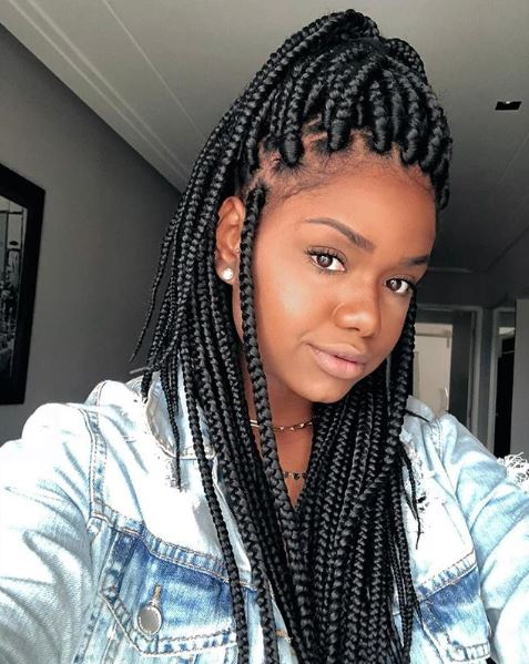"Box Braids - ""MO – to the, E – to the …"" Throw it back to our girl Brandy's signature 90s style, classic box braids. Switch it up by adding accessories or experimenting with length and color.Instagram @studio_lipepreto"