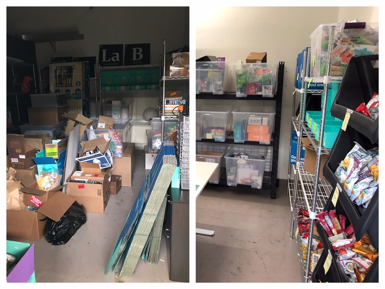 Corporate sample product closet before/after