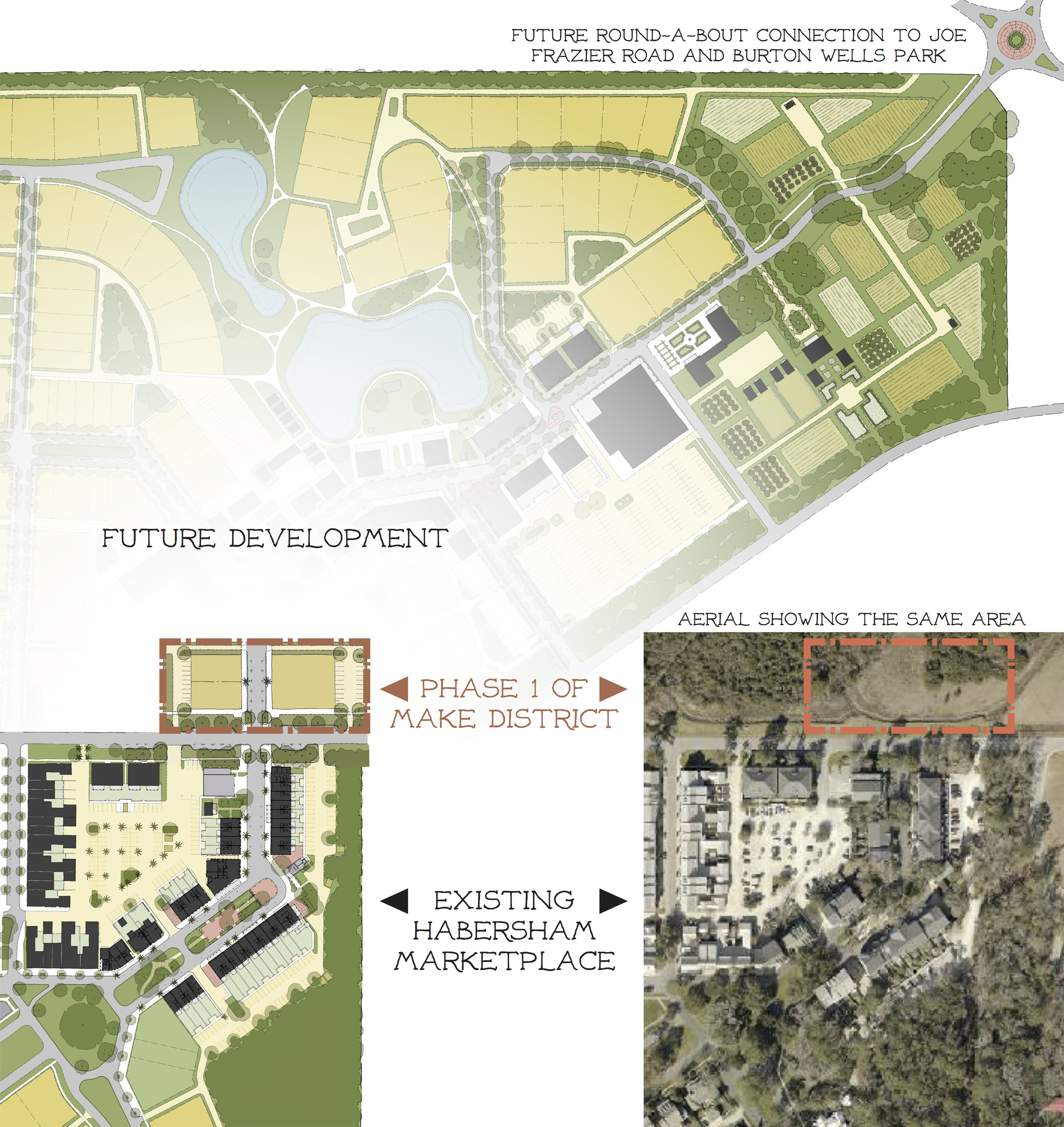 Rendering of flagship structure in the M.A.K.E. extension of the Habersham Marketplace