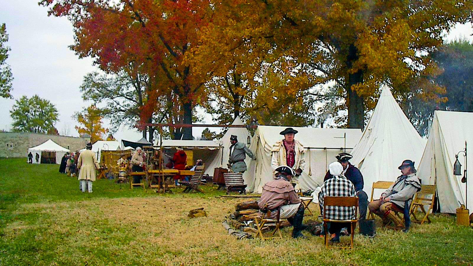 Fur trapper era reenactors Fort de Chartres, Prairie du Rocher, Illinois