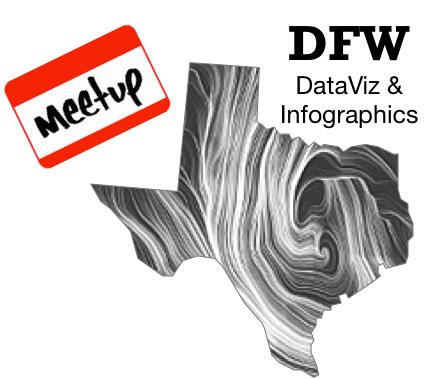 Join the  DFW DataViz Meetup Group  if you're in the Dallas/Fort Worth, TX area!