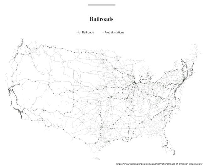 Six Maps that Show America's Infrastructure: Railroads