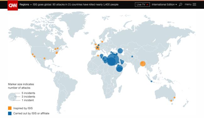 ISIS goes global: 90 attacks in 21 countries have killed nearly 1,400 people