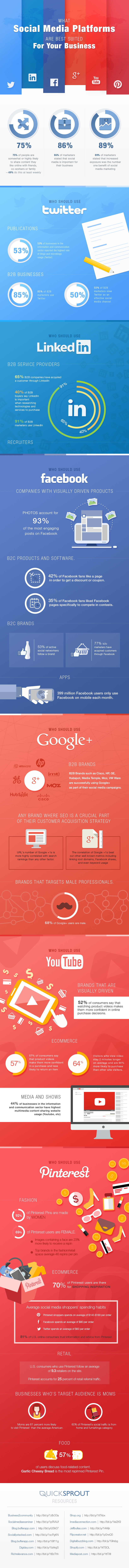 What Social Media Platforms Are Best Suited For Your Business infographic