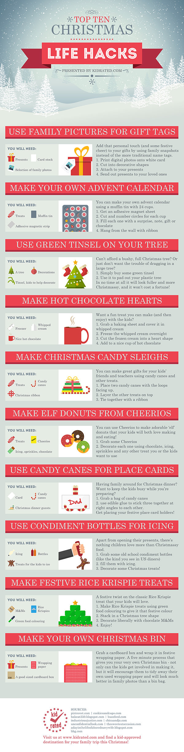 Top Ten Christmas Life Hacks infographic