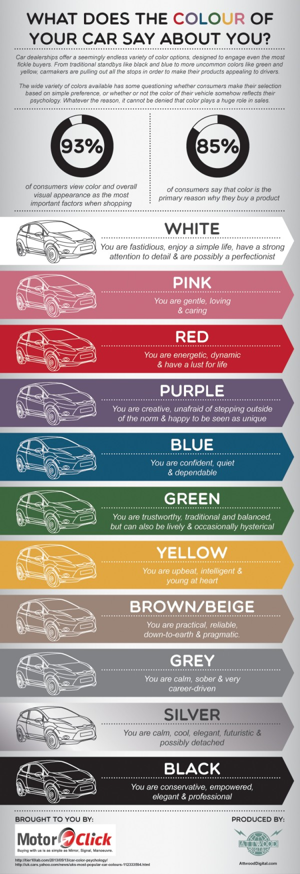 What Does the Colour of Your Car Say About You? infographic