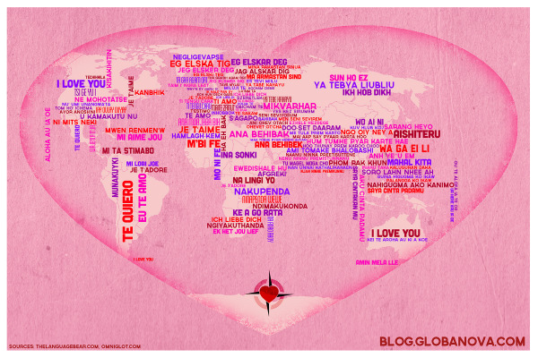 I Love You in 130 Languages infographic