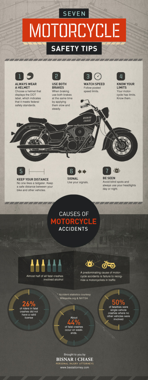Seven Motorcycle Safety Tips infographic