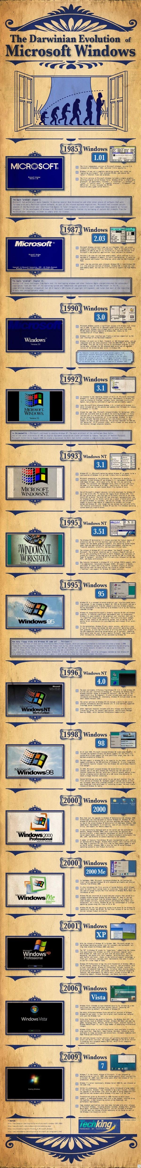 The Darwinian Evolution of Microsoft Windows infographic