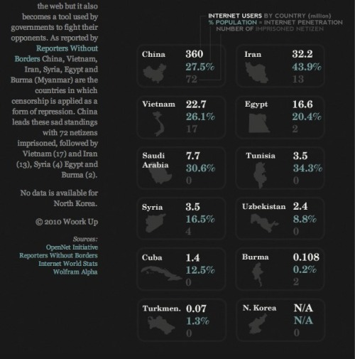 The 2010 Internet Censorship Report infographic
